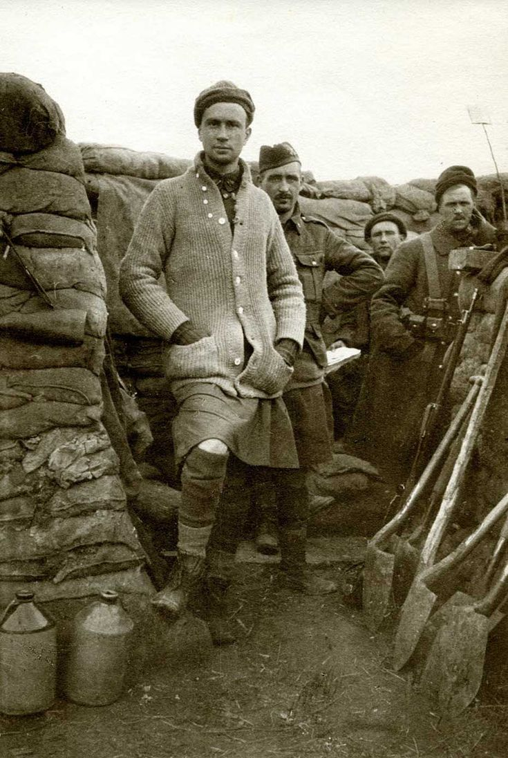 Lieutenant Guy Drummond of the 13th Battalion Royal Highlanders of Canada in the trenches. He was killed in the Second Battle of Ypres at the age of 27, soon after this photograph was taken. 1915.
