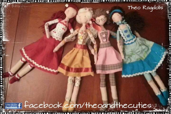 Theo Ragdolls - Cherry-Rose, Sunflower, Cinnamona and Blueberry Handmade Dolls, Fabric Doll, Cloth Doll