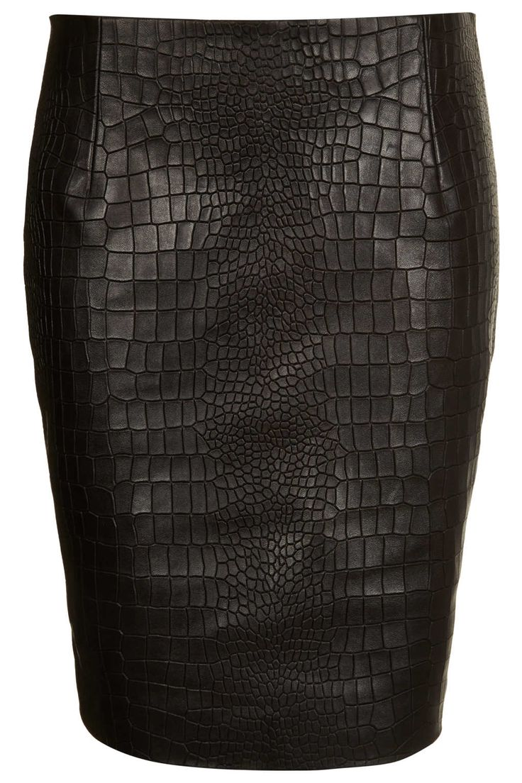 Topshop Boutique Leather Croc Embossed Pencil Skirt, 130£