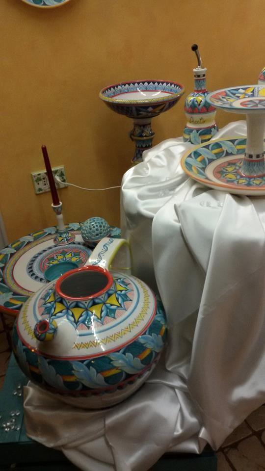 Brocca, centrotavola, tavolo rotondo con portacandela, alzatina, oliera