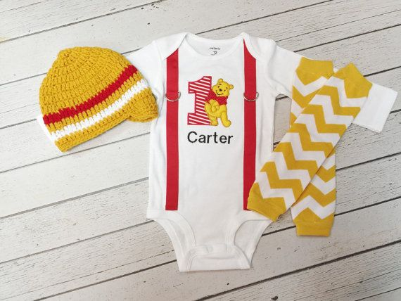 Winnie the Pooh 1st Birthday Outfit-Baby Boys by BetterThanBows