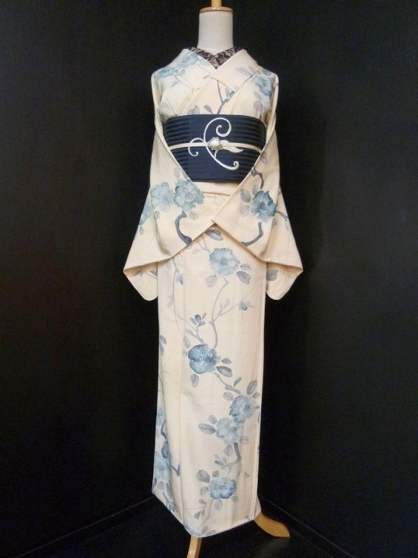 ■ガールズ■鳥の子色*手書き風花♪小紋 正絹袷 裄64丈160ロング - アンティーク着物や現代着物なら雅星本店
