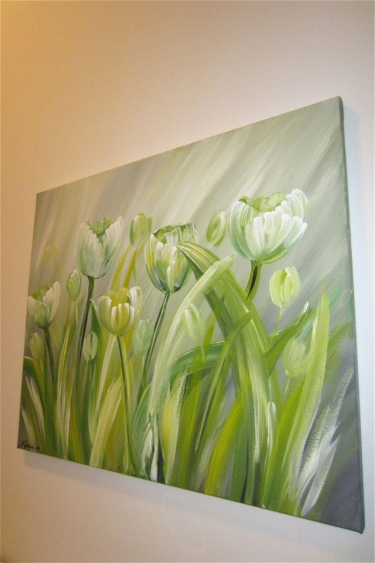 Peinture tulipes, acrylique sur toile