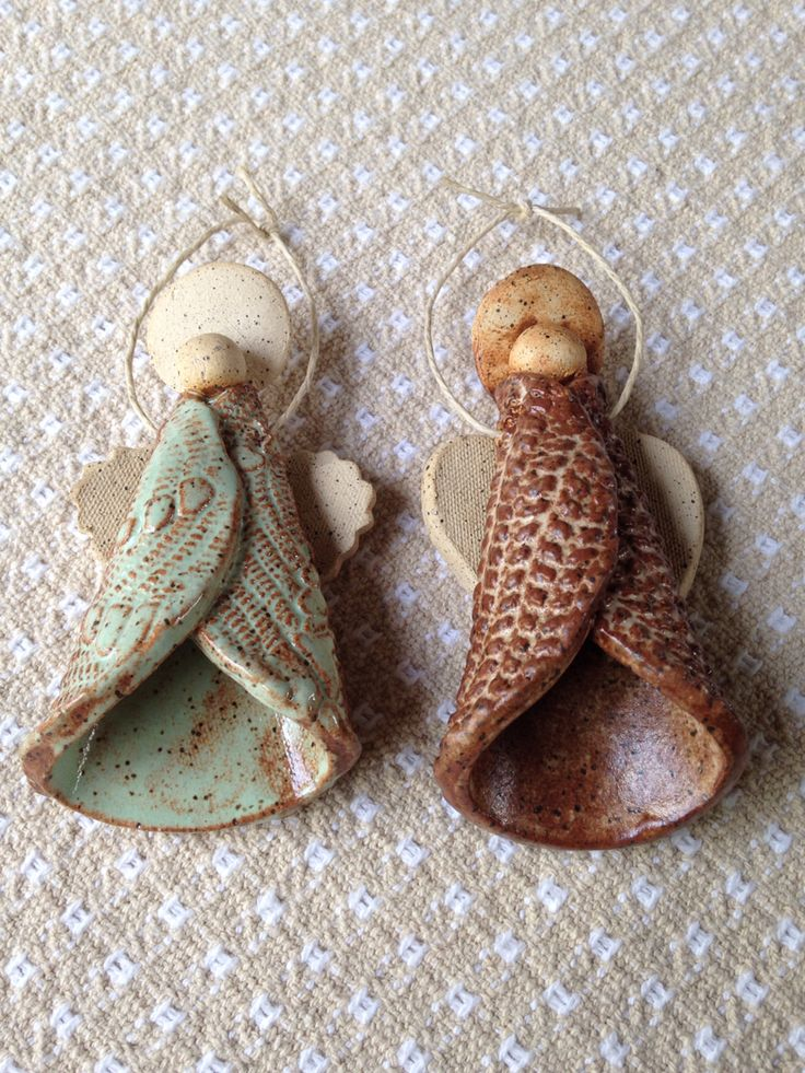 Pottery Workshop Angel Ornaments. Each chose their own texture & glazes. These are Rebecca's.