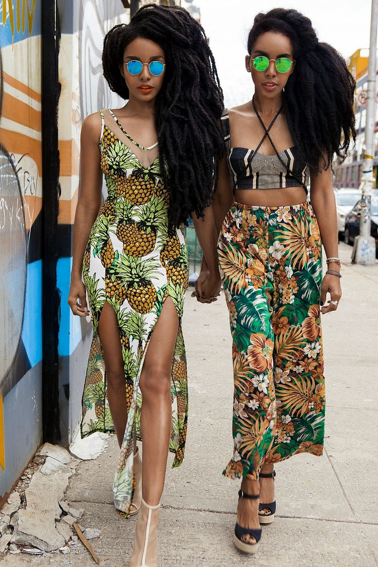 queersirene: devoutfashion: Sunglass Hut x Quann Sisters i need the pineapple dress. Natural hair, dreads