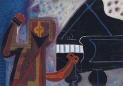 Rodolfo Nieto (Mexican, 1936-1988), El pianista [The Pianist]. Ink and pastel on paper, 70 x 100 cm.