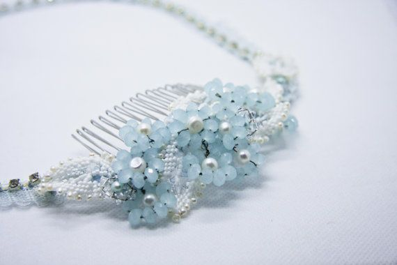 Baby Blue Crystal and Lace Bridal Headband by TiffyDesigns $78 http://www.tiffydesigns.com #bridal #bridal comb #something blue #bridal headpiece #headpiece #floral comb #crystal comb #bridal accessory #bridal hair accessory