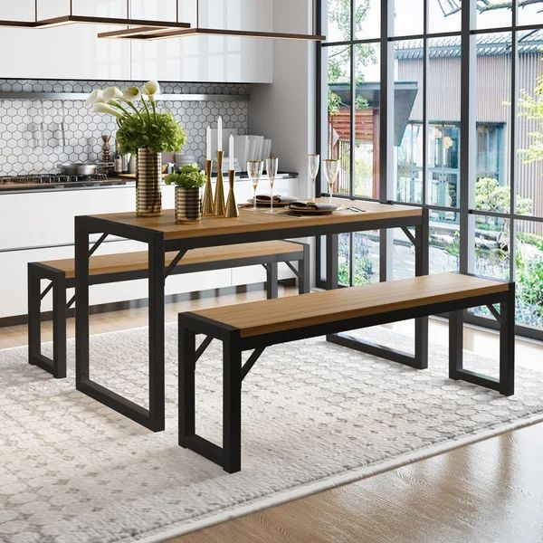 Ezzah 3 Piece Dining Set In 2021 Contemporary Home Furniture Dining Table With Bench Dining Room Sets
