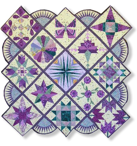 nice setting for a sampler quilt ... another gorgeous quilt!  Love the paper piecing setting triangles ... in fact, it looks as though most of these blocks are paper pieces. Stunning!