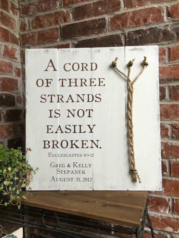A Cord Of Three Strands Ecclesiastes 4 9 12 Rustic White Wood Sign Rope Detail Wedding Decor Unity Ceremony 3 Cords Divinity