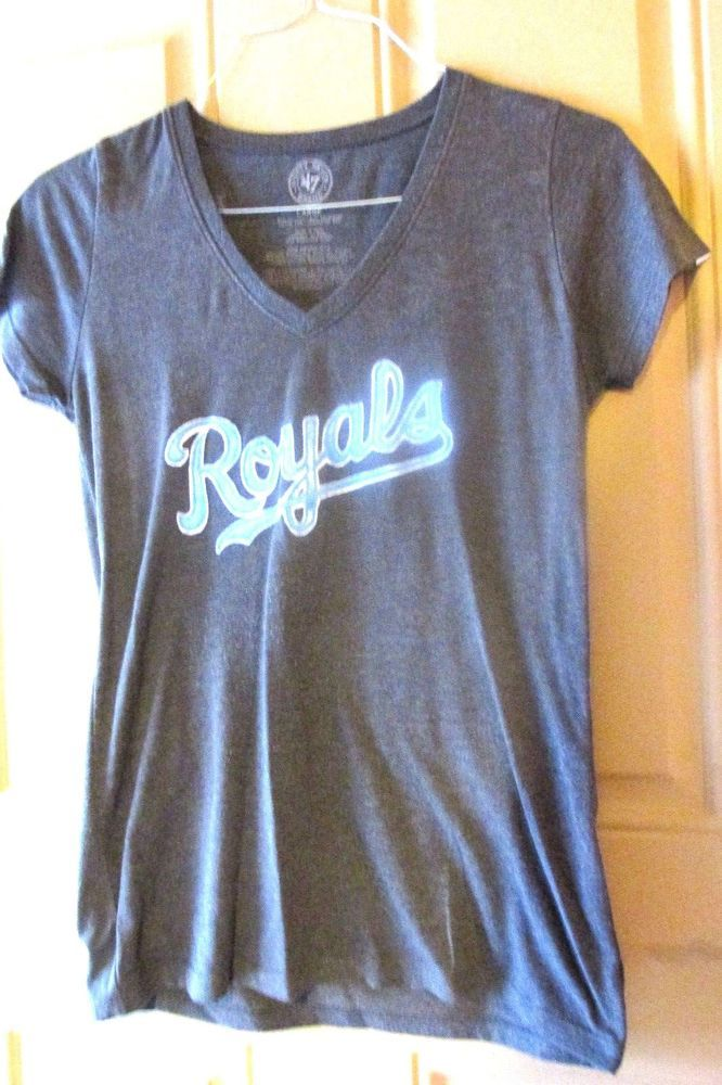 Kansas City Royals V Neck Tee Shirt 47 Brand Large Gray #47Brand #KansasCityRoyals