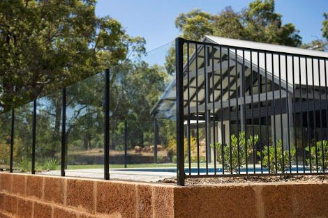 combination glass and aluminium pool fence - Google Search