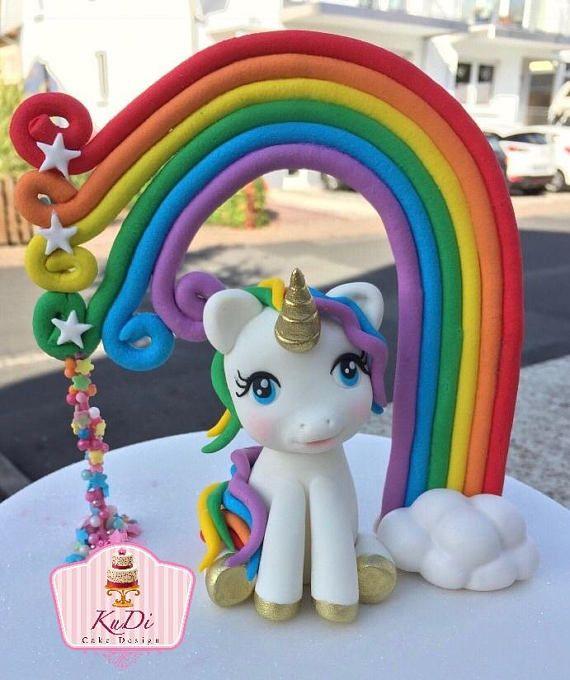 Einhorn 3D Cake Topper Fondant Einhorn Pony   – Fondant / Motivtorten / etc.