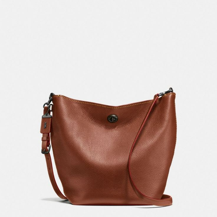 COACH Duffle Shoulder Bag in Glovetanned Pebble Leather. #coach #bags #shoulder bags #leather #lining #