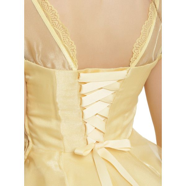 Disney Beauty And The Beast Belle Ball Gown Hot Topic (1,945 MXN) ❤ liked on Polyvore featuring dresses, gowns, disney dresses, corset dress, lace sleeve dress, corset ball gown and beige lace dress