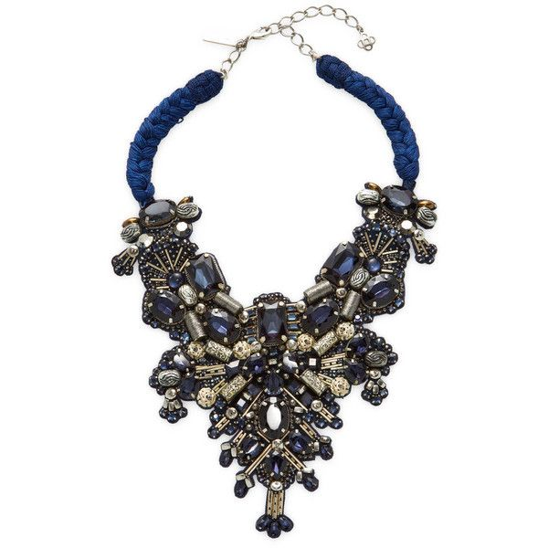 Oscar de la Renta Women's Braided Bib Necklace - Dark Blue/Navy (3 700 SEK) ❤ liked on Polyvore featuring jewelry, necklaces, braided necklace, navy blue necklace, beaded jewelry, navy necklace and long bib necklace