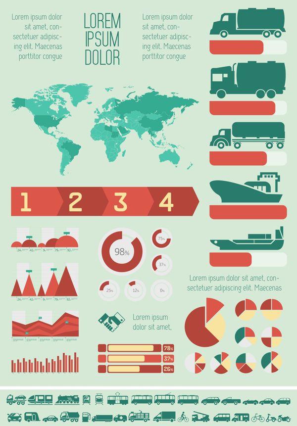 12 Best Transportation Infographics Templates Flat Design Images