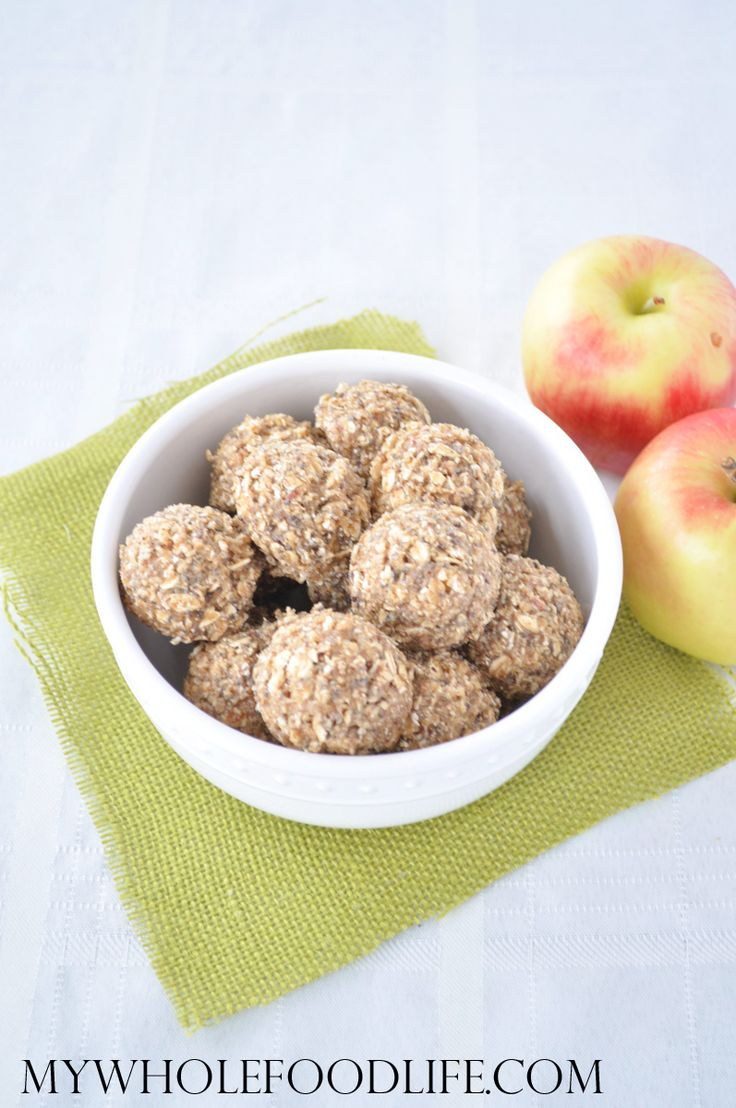 Apple Almond Energy Bites.  --   No sugar unless you want to add maple syrup or a date or two.