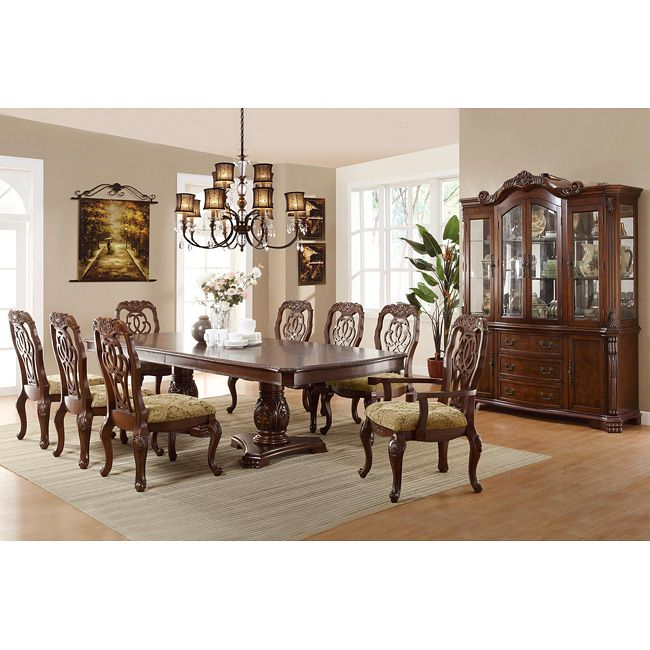Coaster Furniture Marisol Rectangular Double Pedestal Dining Table With  Carved Buffet   Homeclick Community