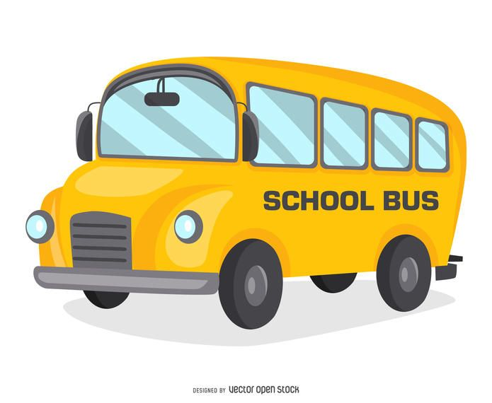 Illustration featuring a yellow school bus over white. Isolated cartoon that says school bus on the side. Great for Back to School designs!