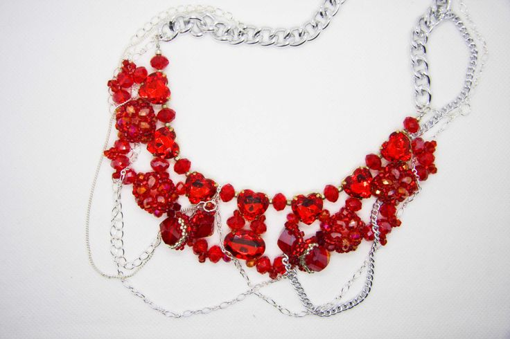 Red Crystal and Multi Chain Statement Necklace by Tiffydesigns on Etsy