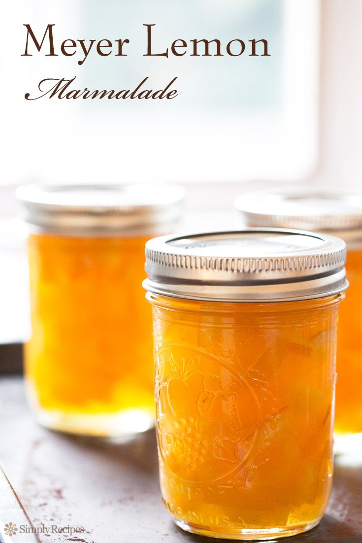 Homemade Meyer Lemon Marmalade with only 3 ingredients! Meyer lemons, sugar, water. No added pectin needed! On SimplyRecipes.com #canning #jam #marmalade