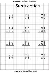 Subtraction Regrouping Worksheets - 2, 3 & 4 digits