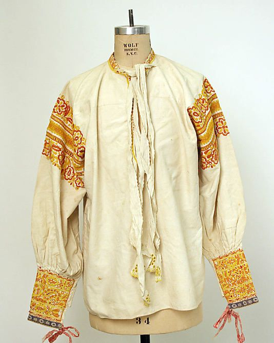 Shirt. Date: 19th century. Culture: Slovak. Medium: cotton. Dimensions: Length at CB: 27 1/2 in. (69.9 cm).