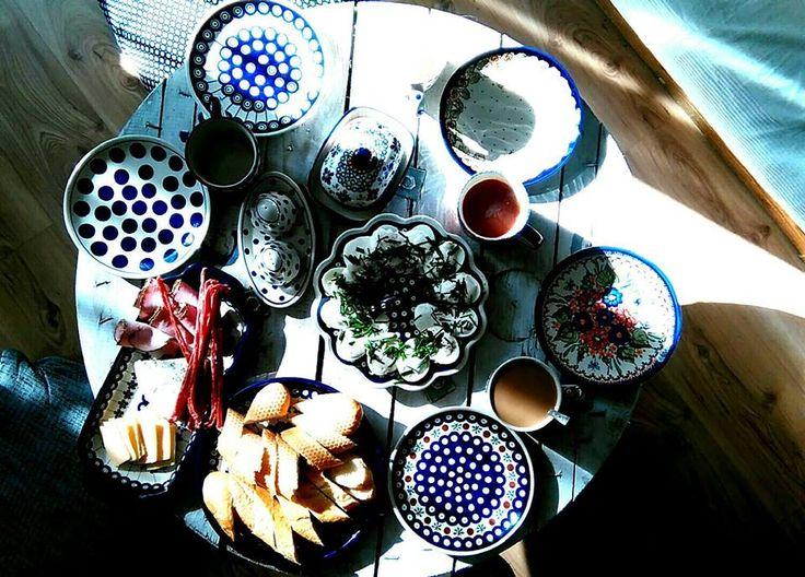 Beautiful breakfast.....with Bolesławiec