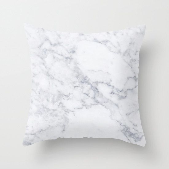 White Marble Pillow white marble pattern Pillow by HuntleighCo