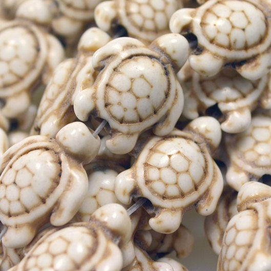 White Turquoise Howlite 18 mm Turtle Beads by PerpetualRevolution, $2.25