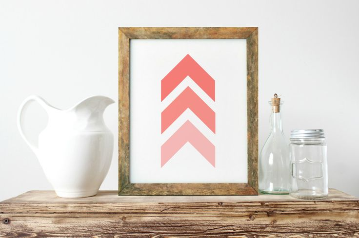 Abstract Wall Art, Unique Gift Ideas, Chevrons Wall Art, Coral And White Art, Nordic Wall Art, Minimalist Wall Art, Gallery Wall Art- PT0268 by ShabbyShackStudio on Etsy