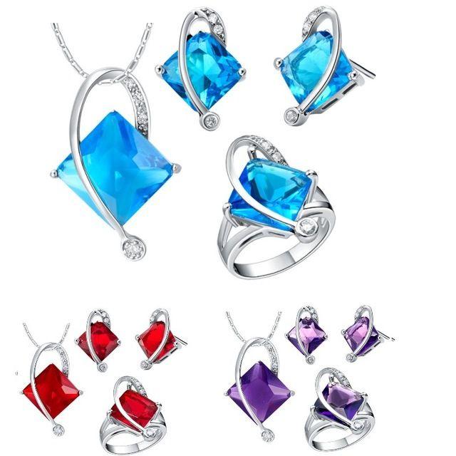 925 Conjuntos De Plata de Color Azul Cristal Rojo Para Las Mujeres Joyería de La Boda Collar Pendiente de Plata de Ley 925 Para Las Mujeres