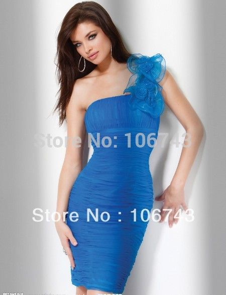 free shipping 2016 new hot fashion vestido de festa one shoulder sexy formal dress blue short prom gown Cocktail party Dresses