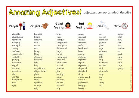Adjective list from sparklebox.co.uk | ADJECTIVES/ADVERBS ...