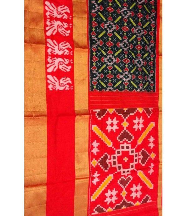 Black Handloom Ikat Pure Silk Saree