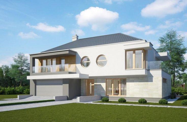 Projekt nowoczesnego domu piętrowego, który posiada pięknie oświetlony salon oraz garaż.