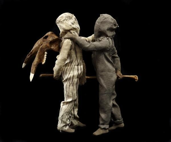 Linde Ivimey Jacob Wrestling the Angel , 2008 mixed media 32 x 30 x 14 cm Made from steel, dyed silk, acrylic resin, earth, natural & cast wallaby, duck, turkey & snake bones, black pearls