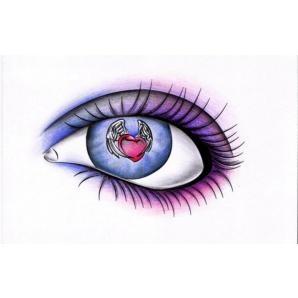 Watching love fly away...heart in eye tattoo, beautiful!