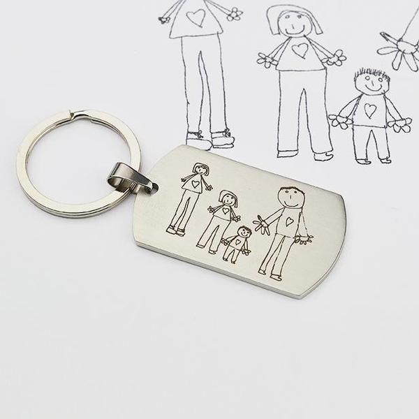 Für Männer - Schlüsselanhänger mit Gravur l Kinderzeichnung - ein Designerstück von ZeichenderErinnerung bei DaWanda