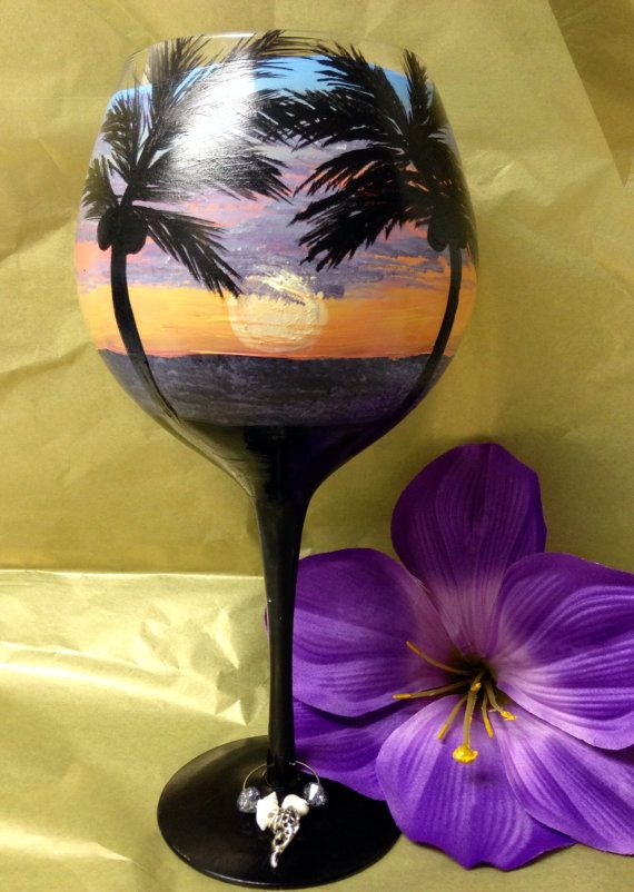 Beach hand painted large wine Goblet with charm ring by Megthemama