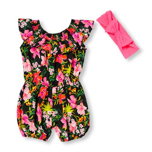 Newborn Baby Sleeveless Neon Floral Print Ruffle Romper And Bow Headwrap Set - Black - The Children's Place