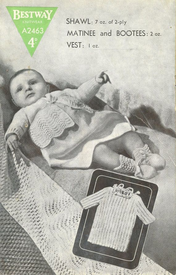 Bestway 2463 baby layette shawl vintage baby by Ellisadine on Etsy, £1.15