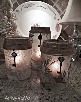 Upcycled Pickle & Olive Jars - decoupage project using old jars, decoupaged napkins, some twine and a votive candle