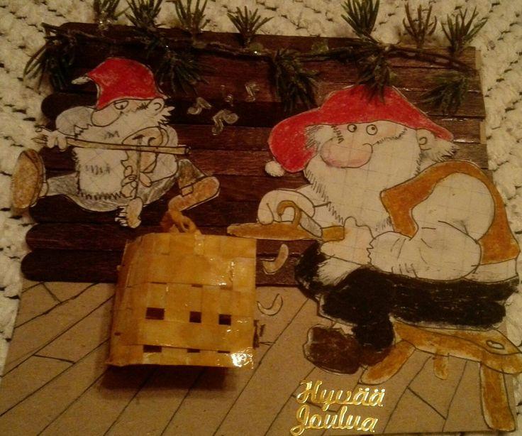 Chrismascard the Christmas of the elves
