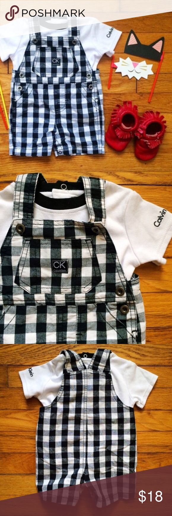 🔲 Gingham Glory Shortalls Gender neutral two piece set! Black and white gingham shortalls, and white tee with black collar trim. Snap crotch and 3 pockets. EUC. Calvin Klein Bottoms Overalls