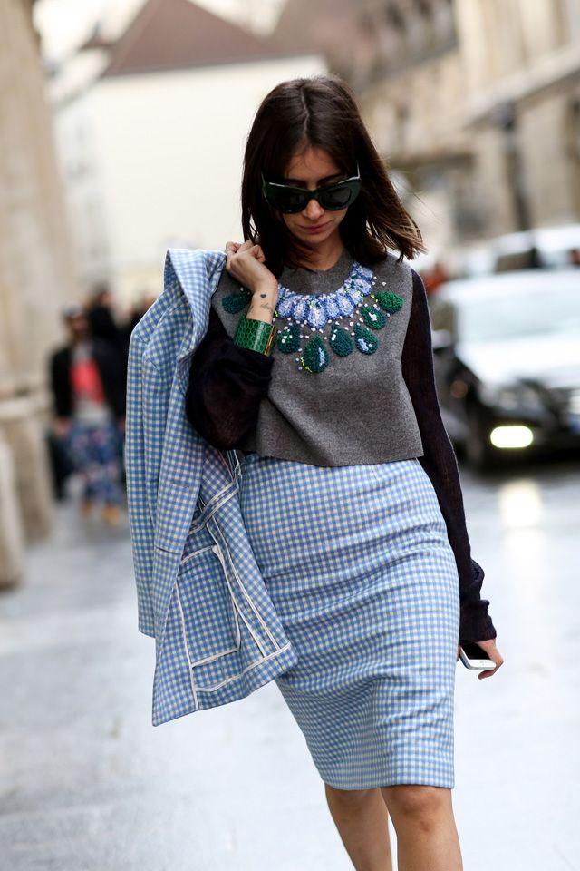 Natasha's gingham Prada sensation. Paris. #NatashaGoldenberg