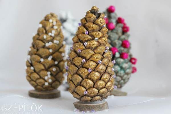 Mini karácsonyfák, különleges karácsonyi dekorációk tobozból