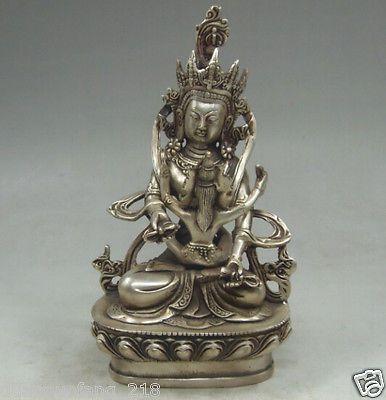 Тибетский старый Тибет Серебро Crafted Buddha Сделать Любовь Счастливая Буддизм Яб-Юм Статуя