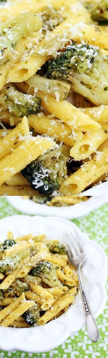 6 cups Broccoli florets, fresh or frozen. 4 peeled whole cloves Garlic. 8 oz Penne pasta. 1/2 tsp Red pepper flakes. 1 Sea salt and fresh black pepper. 1 Parmesan cheese, grated.